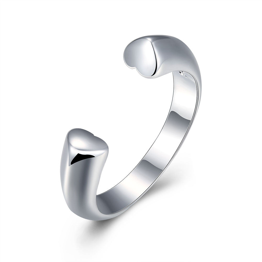 Double Heart Ring Adjustable in White Gold Plated
