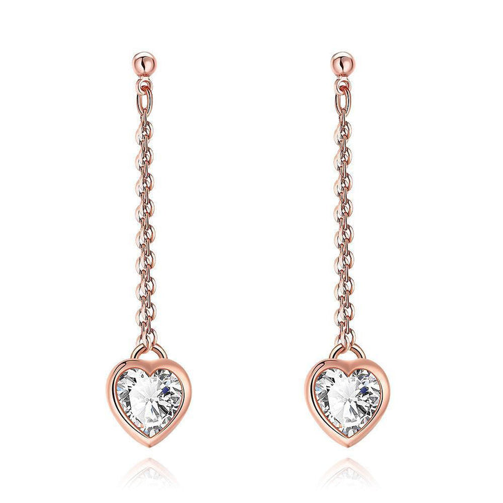 Heart Drop White Topaz Stud Earrings