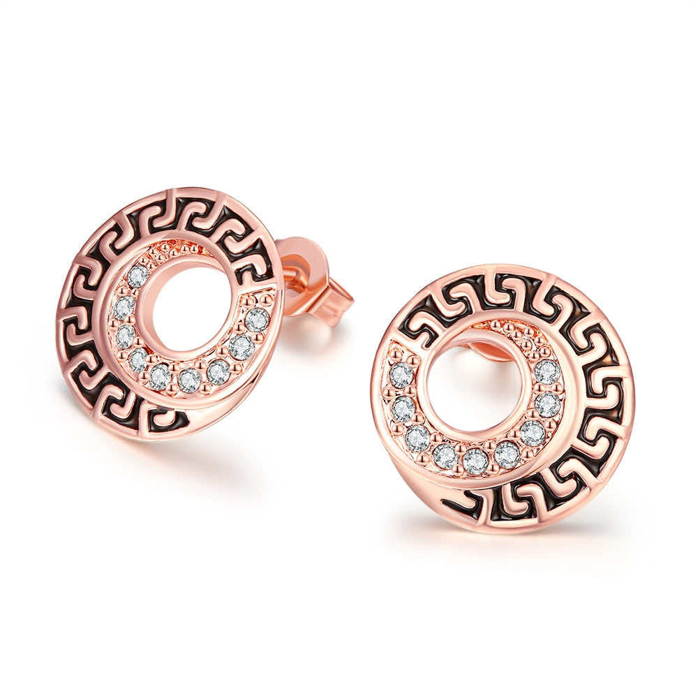 18K Rose Gold Plated Medallion Stud Earring