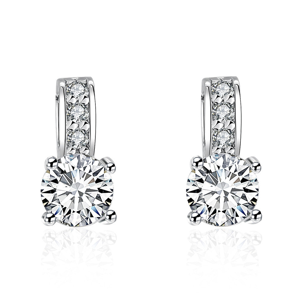 Triple Stone Crystal Pave with Diamond Simulated Studs