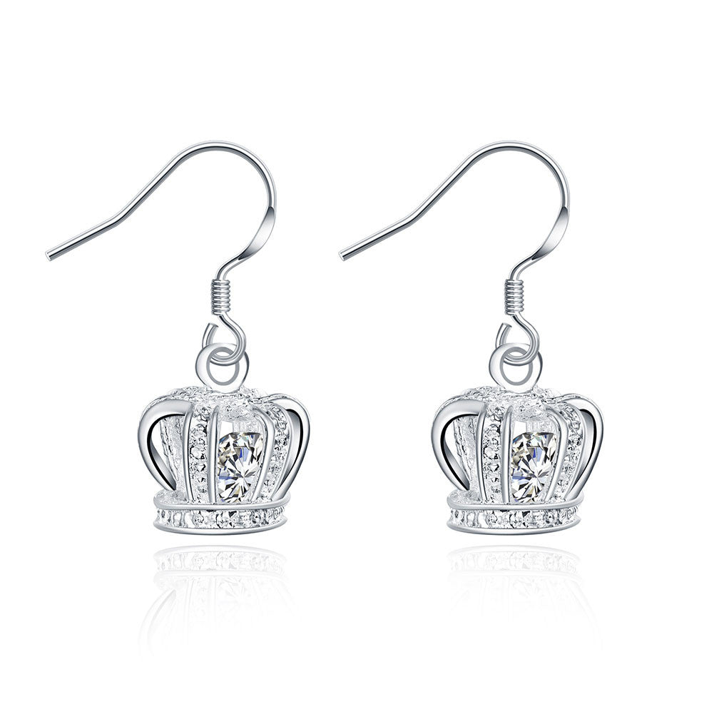 18K White Gold Plated Crown Shaped Drop Earring
