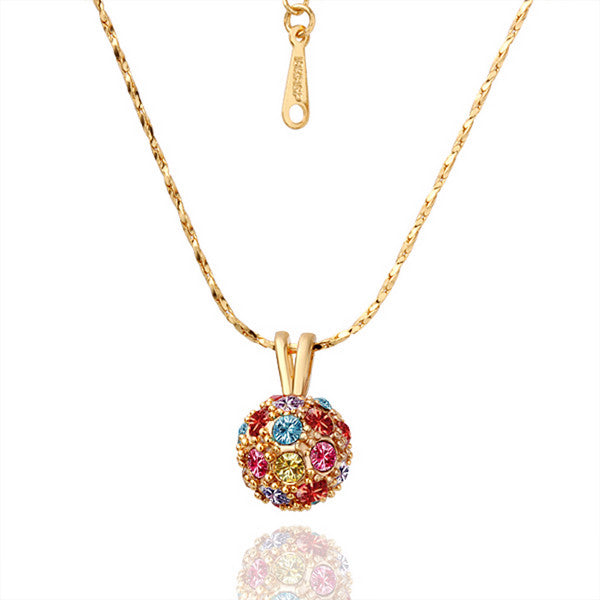 Gold Plated Rainbow Pav'e Crystal Necklace