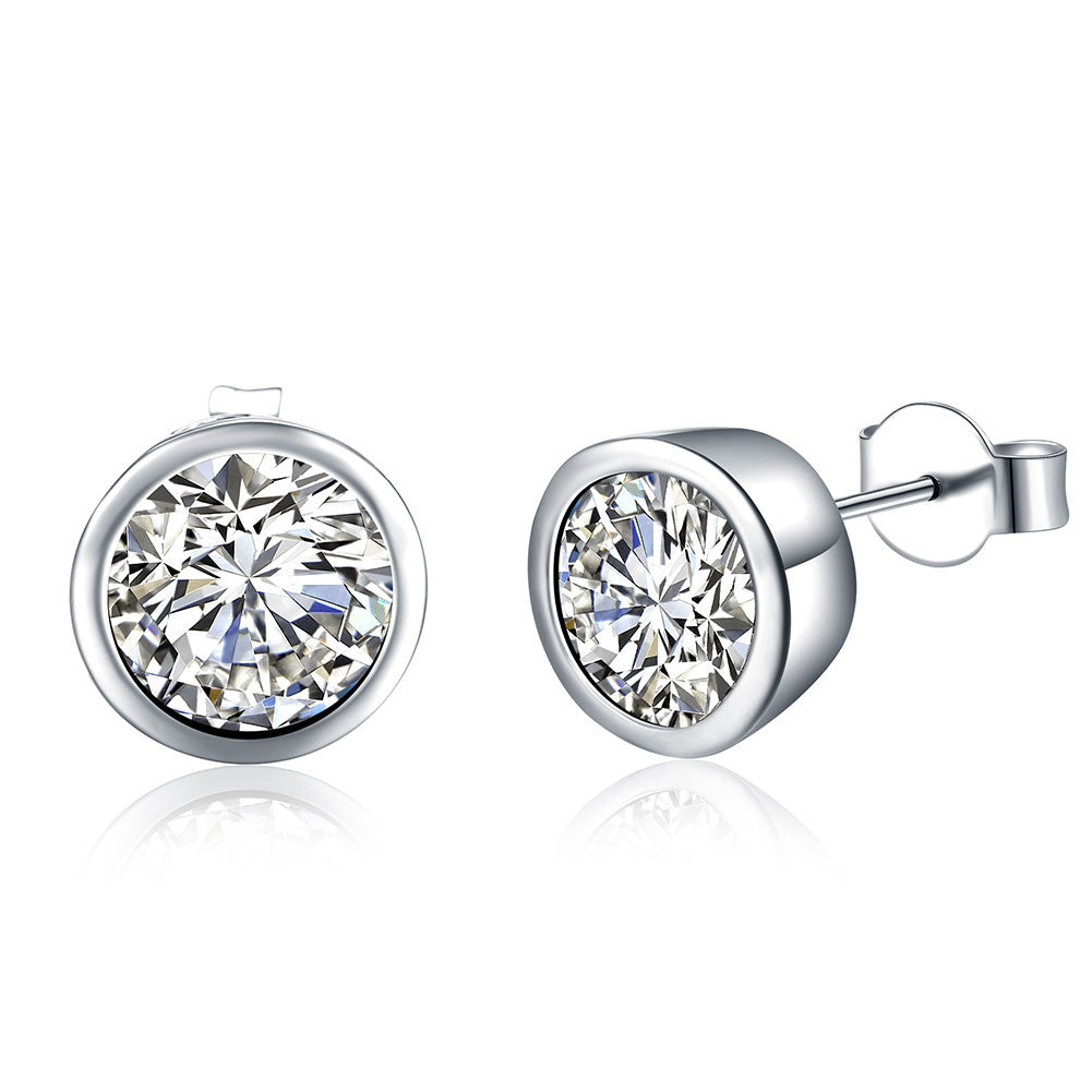 18K White Gold Plated Circular Crystal Stud Earring