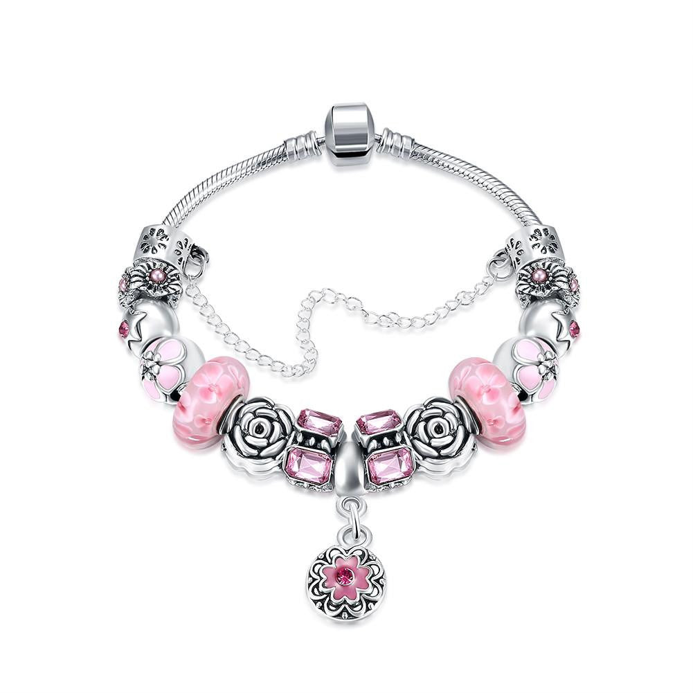 Petite Pink Petite Emblem Pandora Inspired Bracelet Made with Swarovski Elements