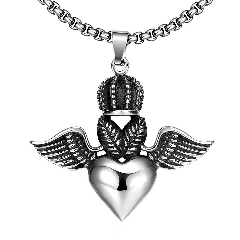 Flying Hearts Emblem Stainless Steel Necklace