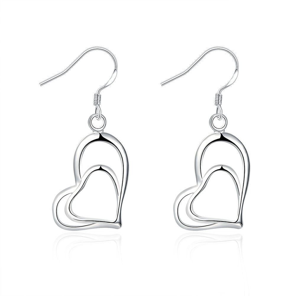 18K White Gold Plated Trio-Hearts Drop Earring