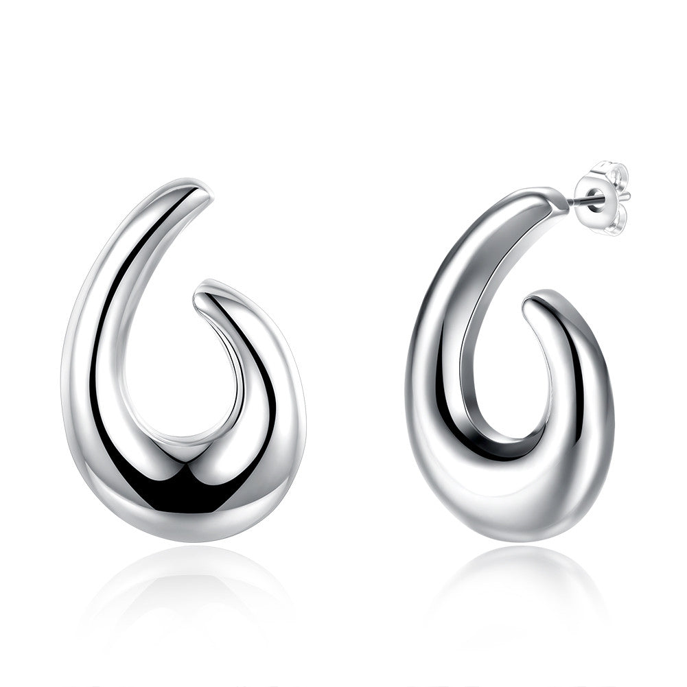 18K White Gold Plated Abstract Angular Hoops