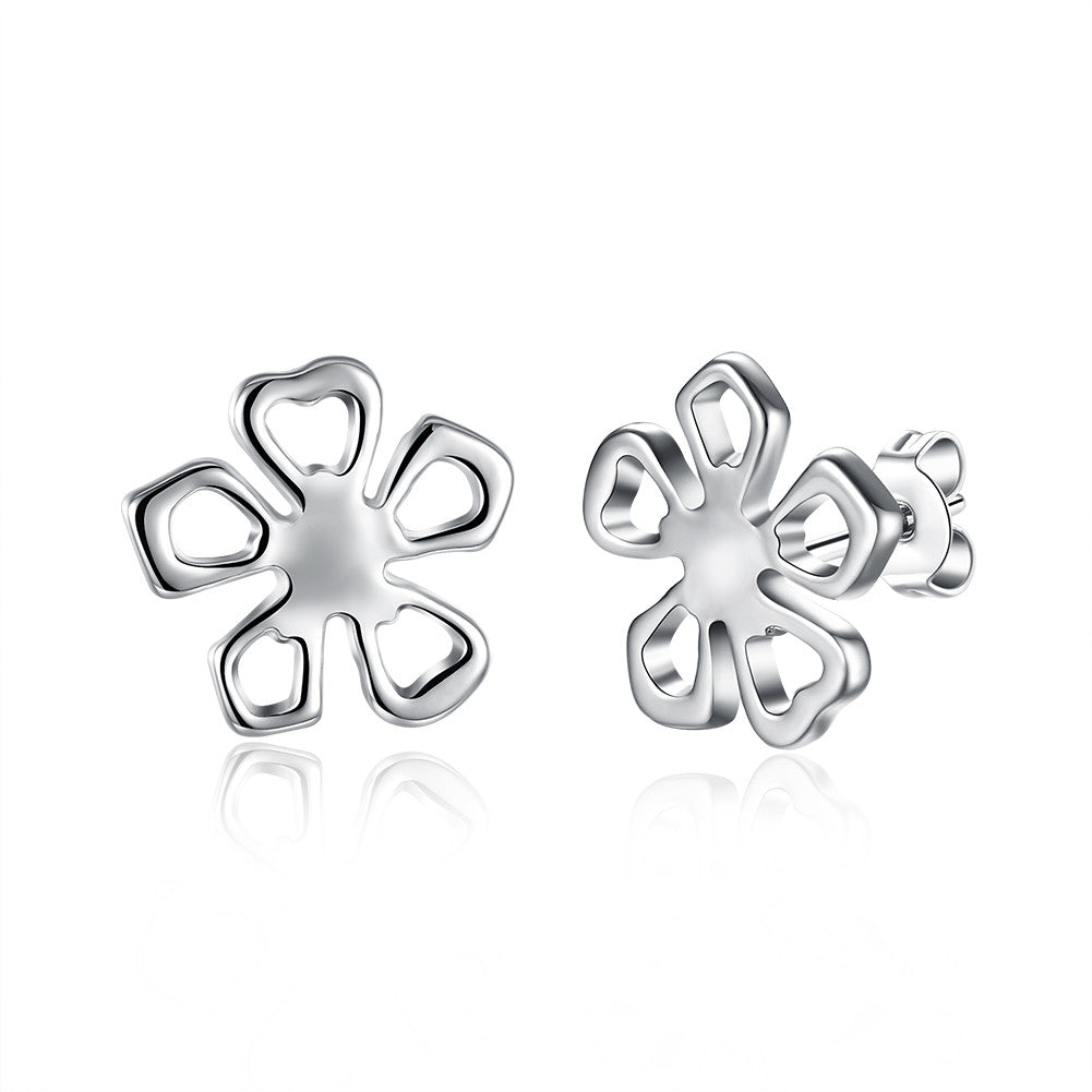 18K White Gold Plated Hollow Floral Petal Stud Earring