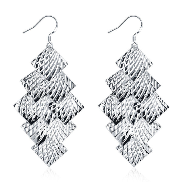 18K White Gold Plated Drop Beaded Plates Earring