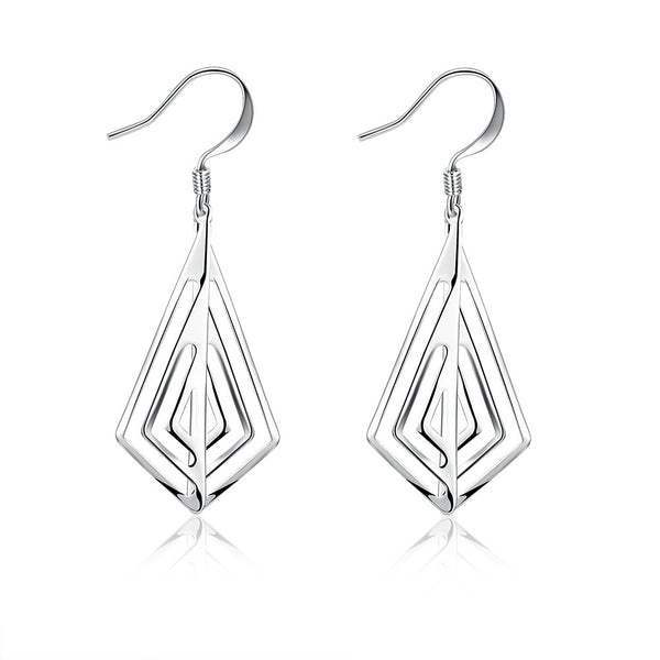 18K White Gold Plated Laser Cut Triangular Drop Earring