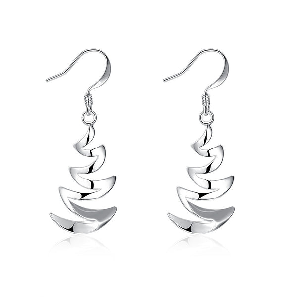 18K White Gold Plated Zig-Zag Drop Earring
