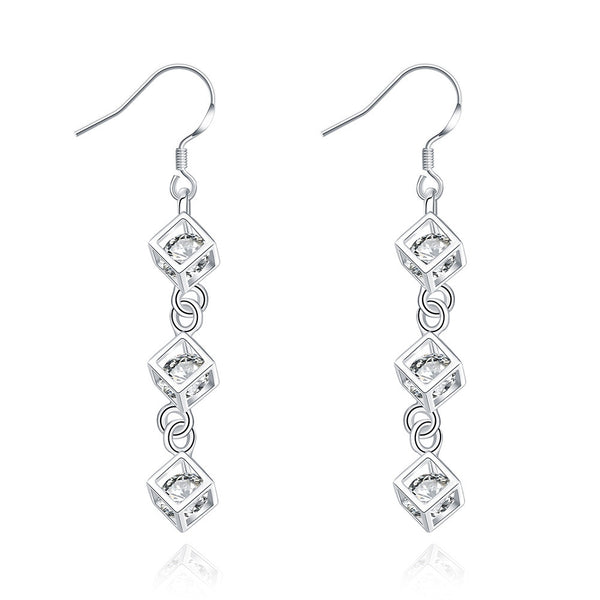 18K White Gold Plated Drop Rubix Cube Earring