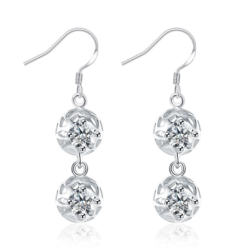 18K White Gold Plated Laser Cut Duo-Balls Drop Earring