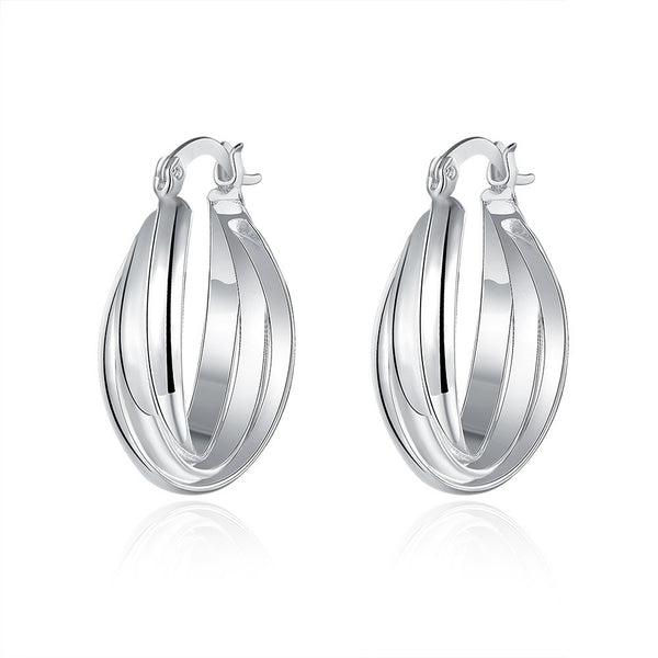 18K White Gold Plated Bent Lining Hoops