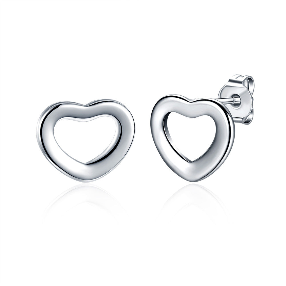 18K White Gold Plated Heart Shaped Stud Earring