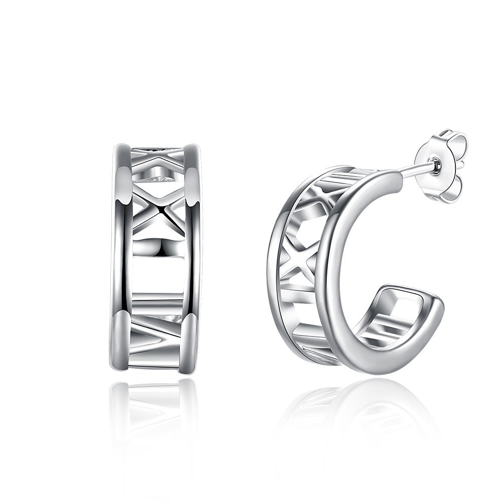18K White Gold Plated Roman Numerals Ingrained Earring