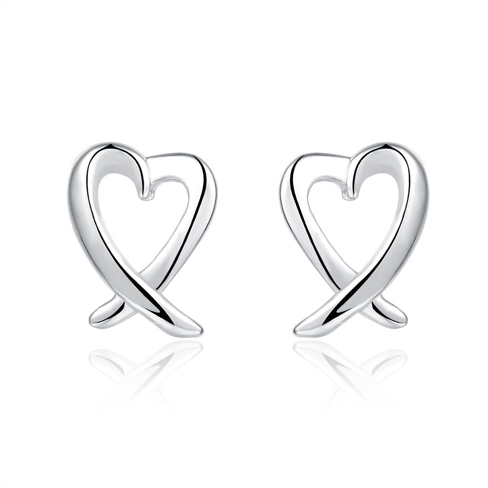 18K White Gold Plated Abstract Curved Heart Shaped Earring