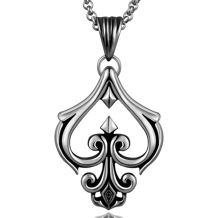 Hollow Spade Emlem Stainless Steel Necklace