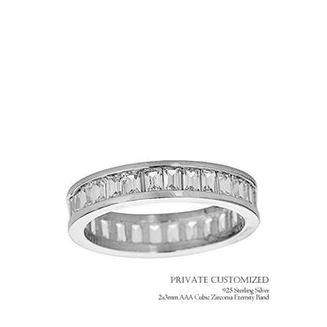 (Customized) AnChus Sterling Silver w 2x3mm AAA Cubic Zirconia Emerald Band Women's Ring