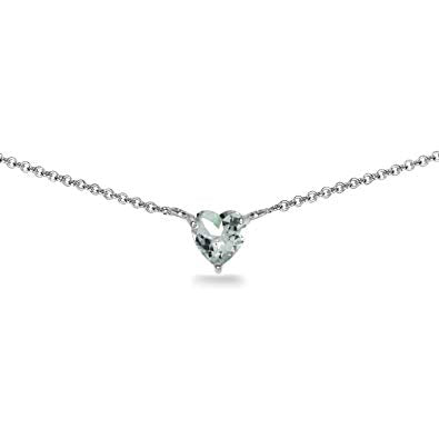 (7mm) Heart Shape Birthstone Choker Necklace
