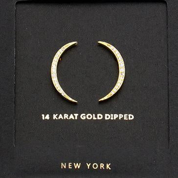 Gold Dipped w CZ Moon Pendant Necklace