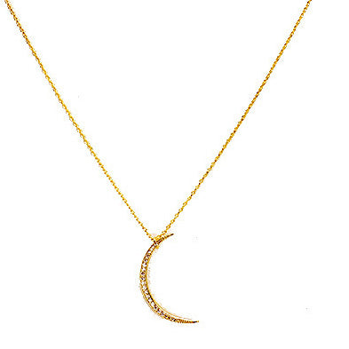 14K Gold Dipped CZ Moon Necklace