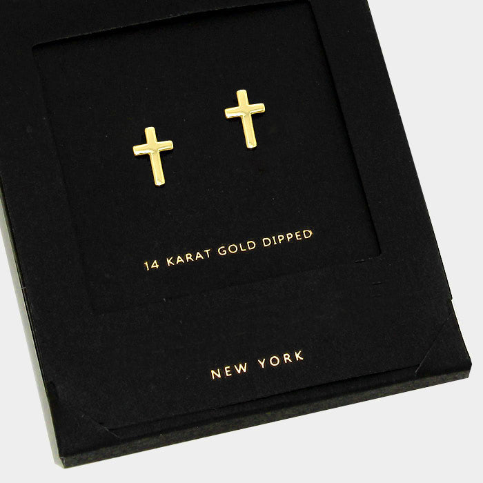AnChus Gold Dipped Cross Stud Earrings