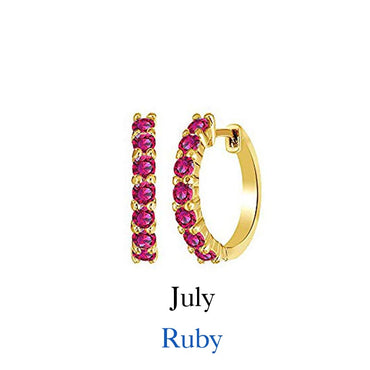 Birthstone Huggie Hoop Earrings