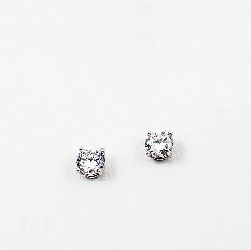 (CZ) AnChus 7mm Round CZ Stud Earrings