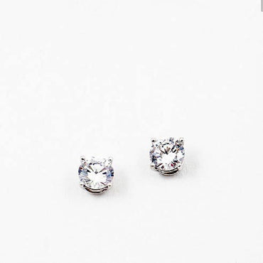 (CZ) AnChus 8mm Round CZ Stud Earrings