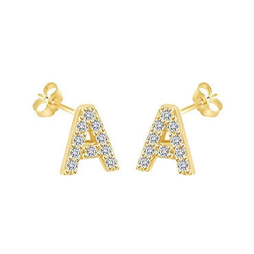 14K Gold Dipped CZ Initial Stud Earrings