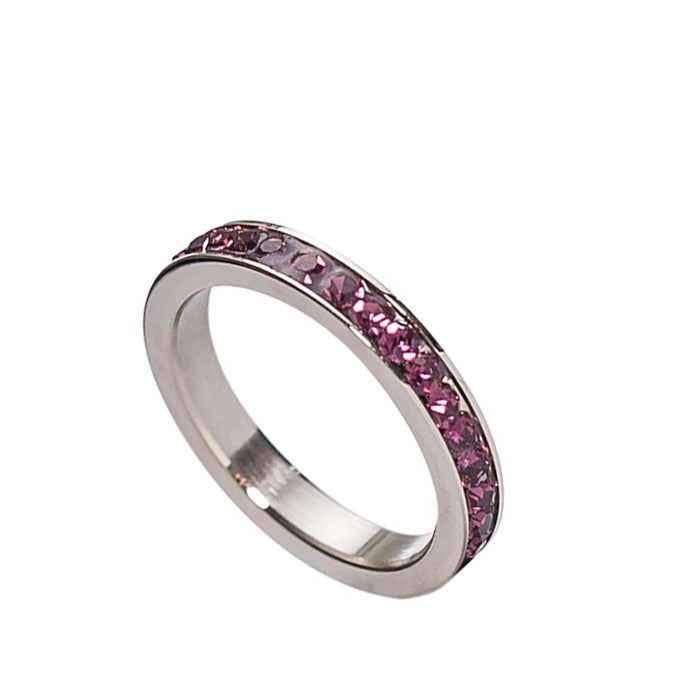 Stainless Steel Birthstone Swarovski Ring -3mm