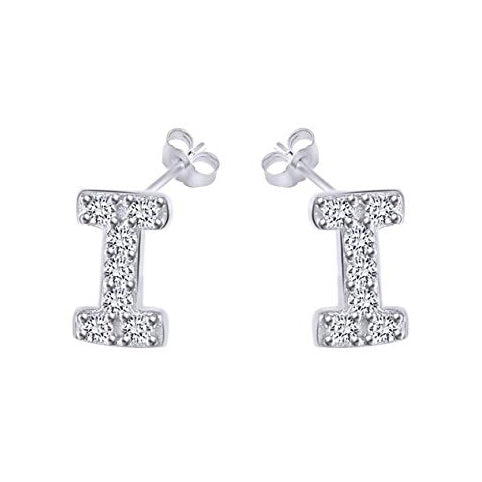 White Gold CZ Initial Stud Earrings
