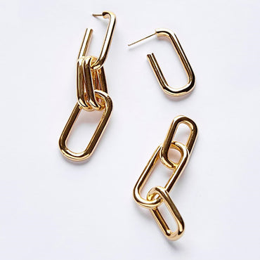 Gold / Sterling Silver Dipped Metal Chain Hoop Earrings (single / pair)