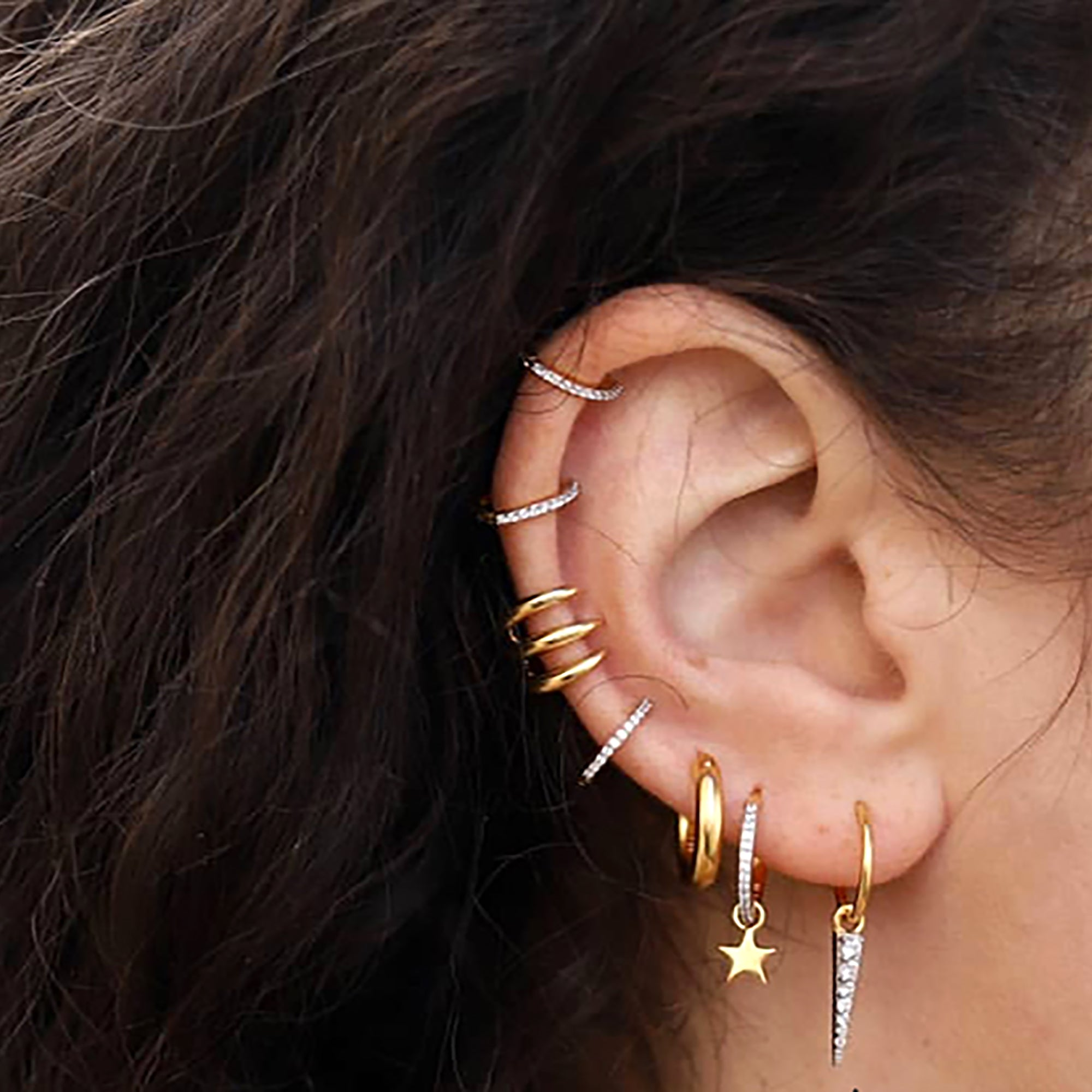 18K Gold Plated Hoop w/ CZ Spike Earrings
