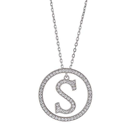 White Gold Plated Sterling Silver Circle CZ Initial Pendant Necklace