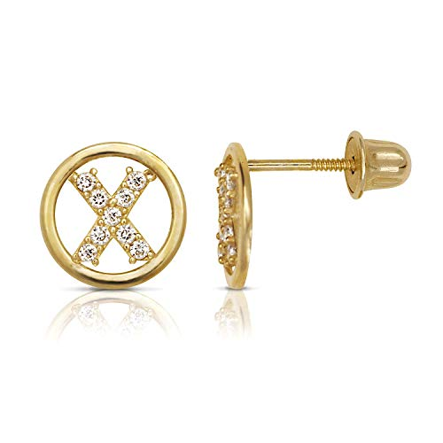 14K Gold Circle CZ Initial Sweirl Stud Earrings