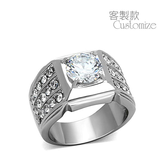 (Customized) AnChus Sterling Silver w Cubic Zirconia Men's Ring