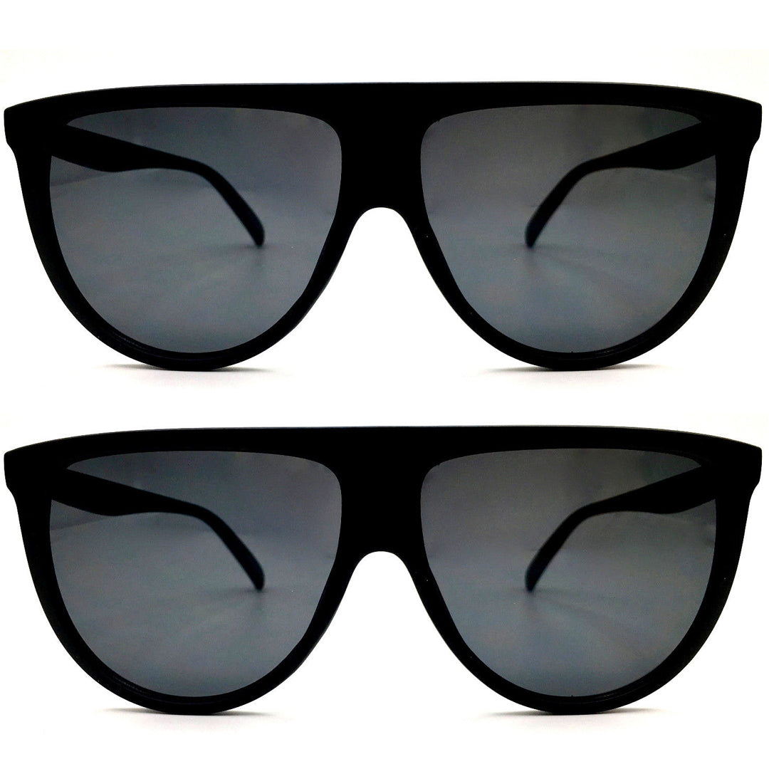 "Oversized - 60mm Sunglasses SHADOW Thin Teardrop ""BLACK"" Oversized Flat Top Aviator Women KOLs"