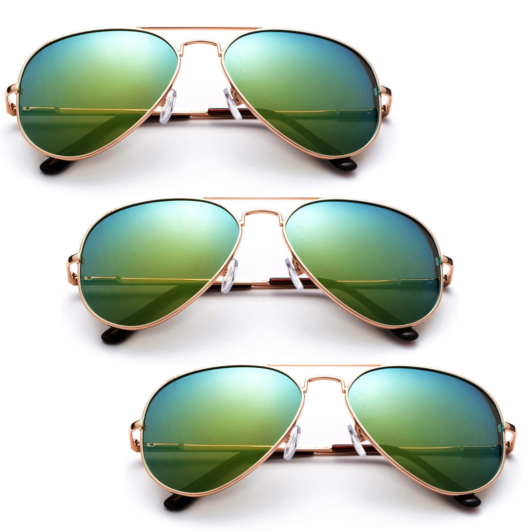 Oversized - 62mm Classy Green Aviator Sunglasses Vintage Eyewear Mirror Lens Men Women Glasses