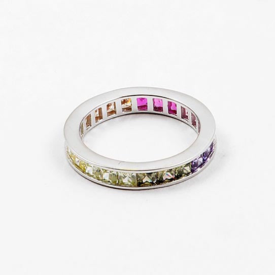 Simple Multi-Color Emerald Cut Eternity Band CZ Ring