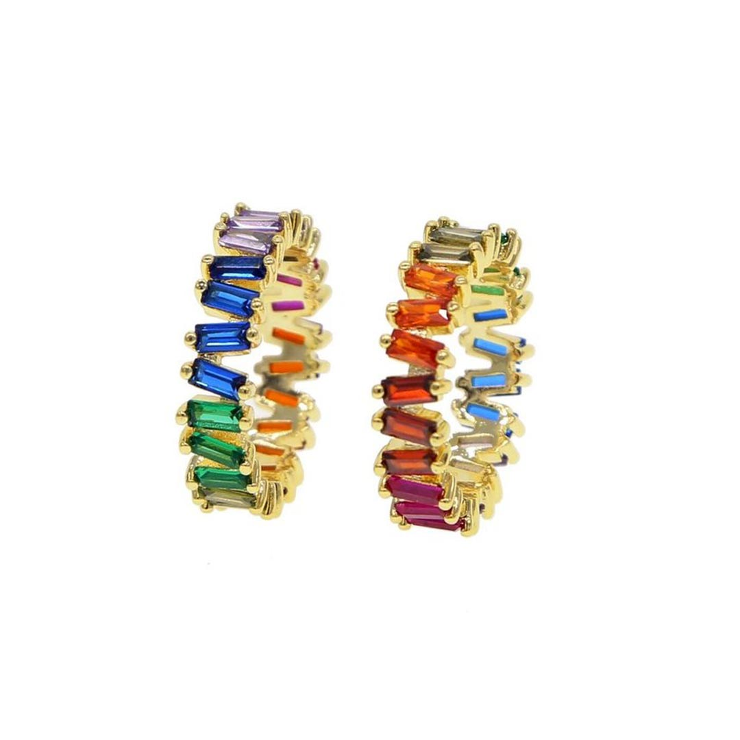 Colored CZ Baguette Band Ring