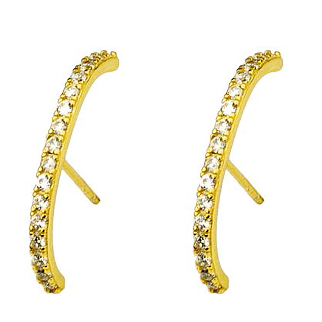 925 Sterling Silver / Gold Dipped Huggie Suspender Hoop Earrings