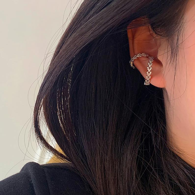 White Gold Plated CZ Deco Ear Cuff