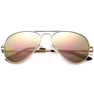 Oversized - 60mm Rose Pink Gold Aviator Sunglasses Classic Vintage Mirror Lens Glasses