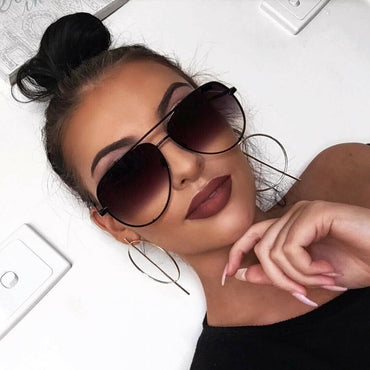 Oversized - 61mm Aviator OVERSIZED Women Sunglasses Aviator Flat Top Square