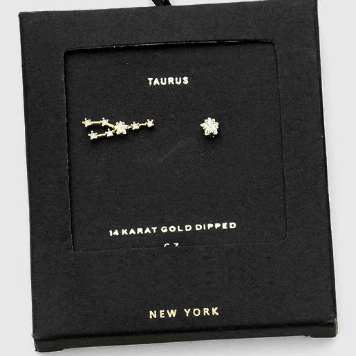 TAURUS CZ Star Earrings
