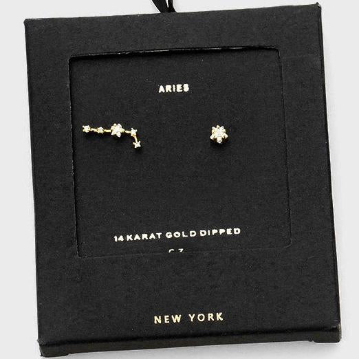 ARIES CZ Star Earrings