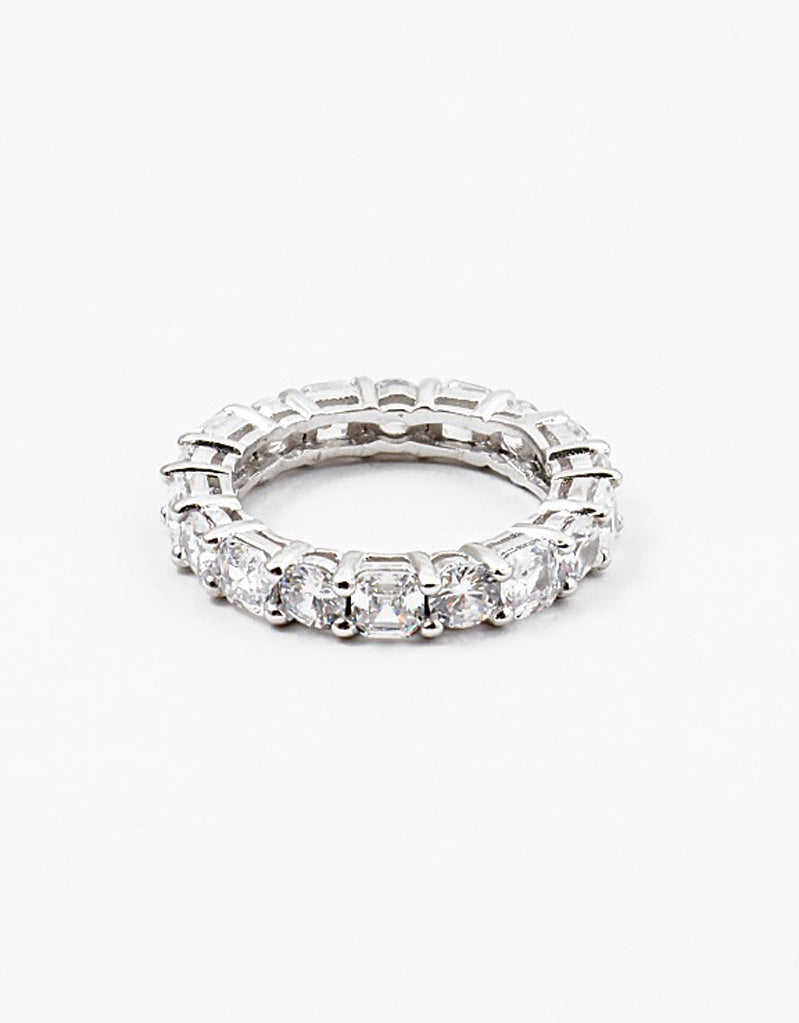 Round w Square CZ Link Eternity Band Ring