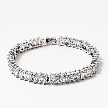 "(0.25"") Rectangle Shape Cubic Zirconia Bracelet"